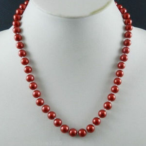 8mm Red South Sea Shell Pearl Round Necklace 18""